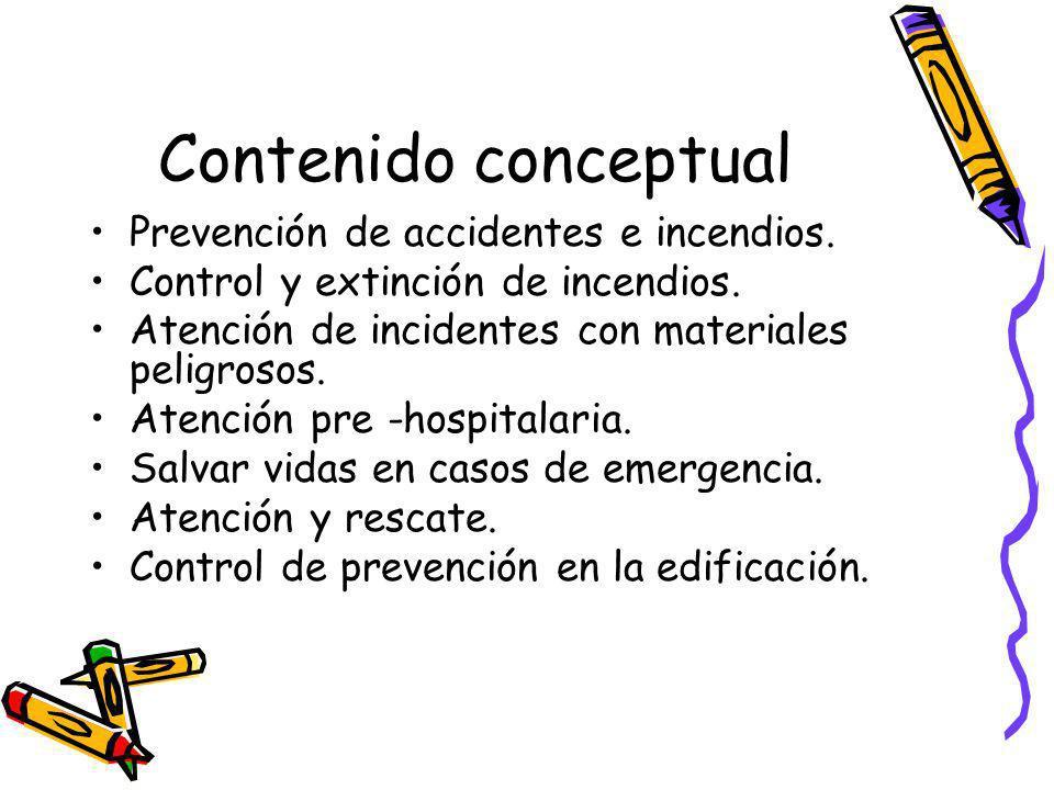 Contenido conceptual Prevención de accidentes e incendios. Control y extinción de incendios. Atención de incidentes con materiales peligrosos. Atenció