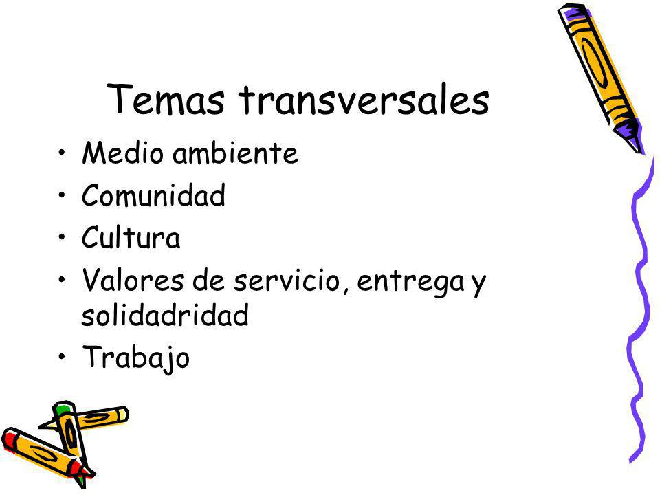 Temas transversales Medio ambiente Comunidad Cultura Valores de servicio, entrega y solidadridad Trabajo