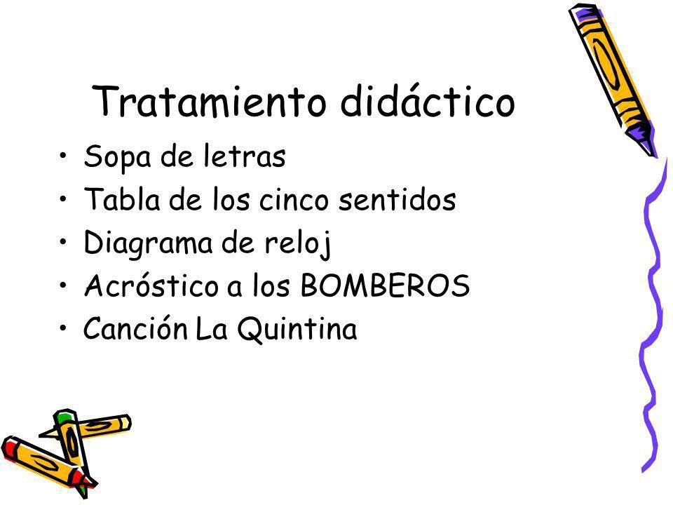 Tratamiento didáctico Sopa de letras Tabla de los cinco sentidos Diagrama de reloj Acróstico a los BOMBEROS Canción La Quintina