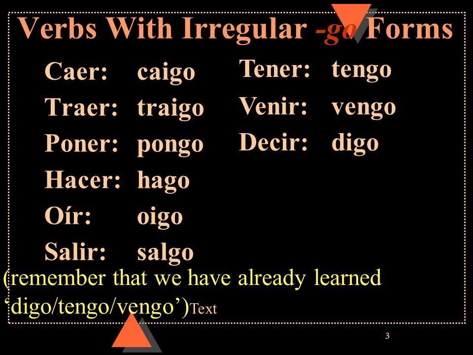 4 zco Verbs With Irregular -zco Forms in the yo form Conocer: conozco Parecer: parezco