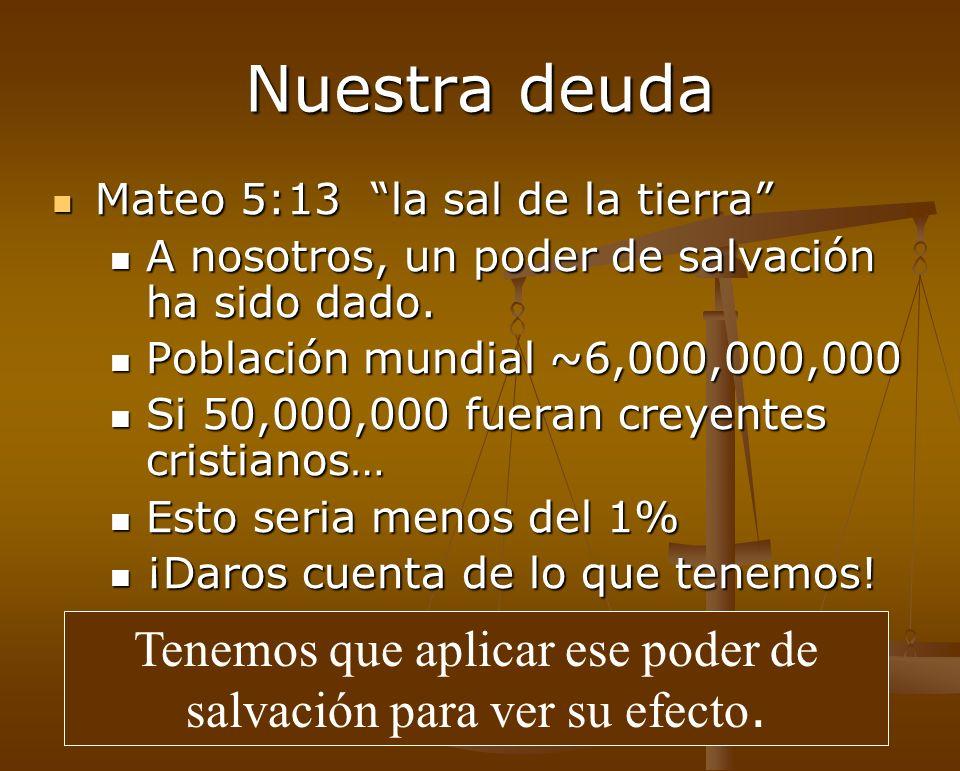 Nuestra deuda Mateo 5:13 la sal de la tierra Mateo 5:13 la sal de la tierra A nosotros, un poder de salvación ha sido dado. A nosotros, un poder de sa