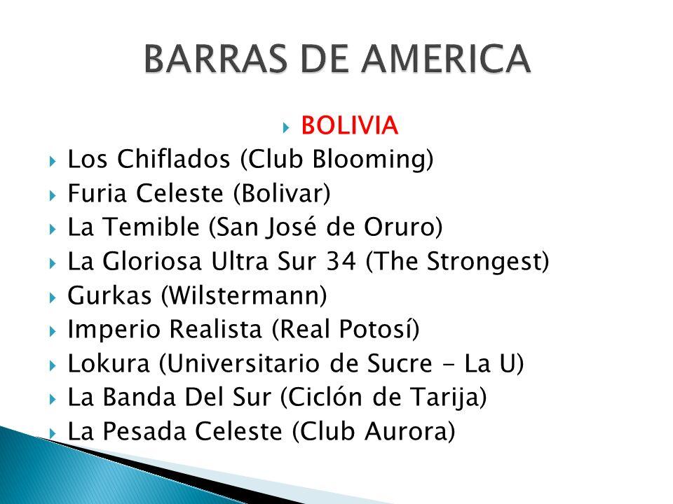 BOLIVIA Los Chiflados (Club Blooming) Furia Celeste (Bolivar) La Temible (San José de Oruro) La Gloriosa Ultra Sur 34 (The Strongest) Gurkas (Wilsterm