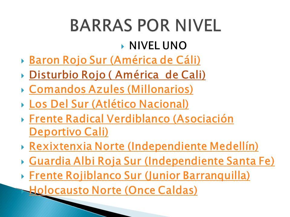 NIVEL UNO Baron Rojo Sur (América de Cáli) Disturbio Rojo ( América de Cali) Comandos Azules (Millonarios) Los Del Sur (Atlético Nacional) Frente Radi