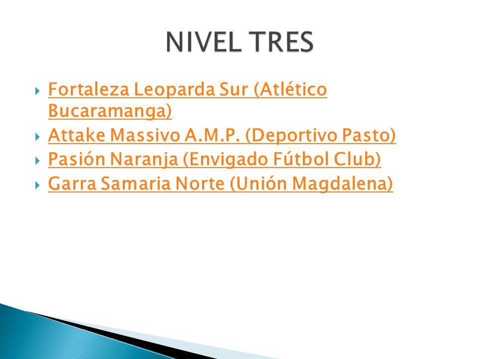 Fortaleza Leoparda Sur (Atlético Bucaramanga) Fortaleza Leoparda Sur (Atlético Bucaramanga) Attake Massivo A.M.P. (Deportivo Pasto) Pasión Naranja (En