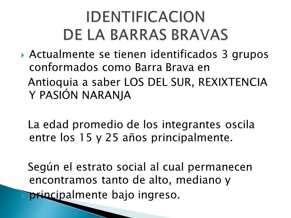 Actualmente se tienen identificados 3 grupos conformados como Barra Brava en Antioquia a saber LOS DEL SUR, REXIXTENCIA Y PASIÓN NARANJA La edad prome