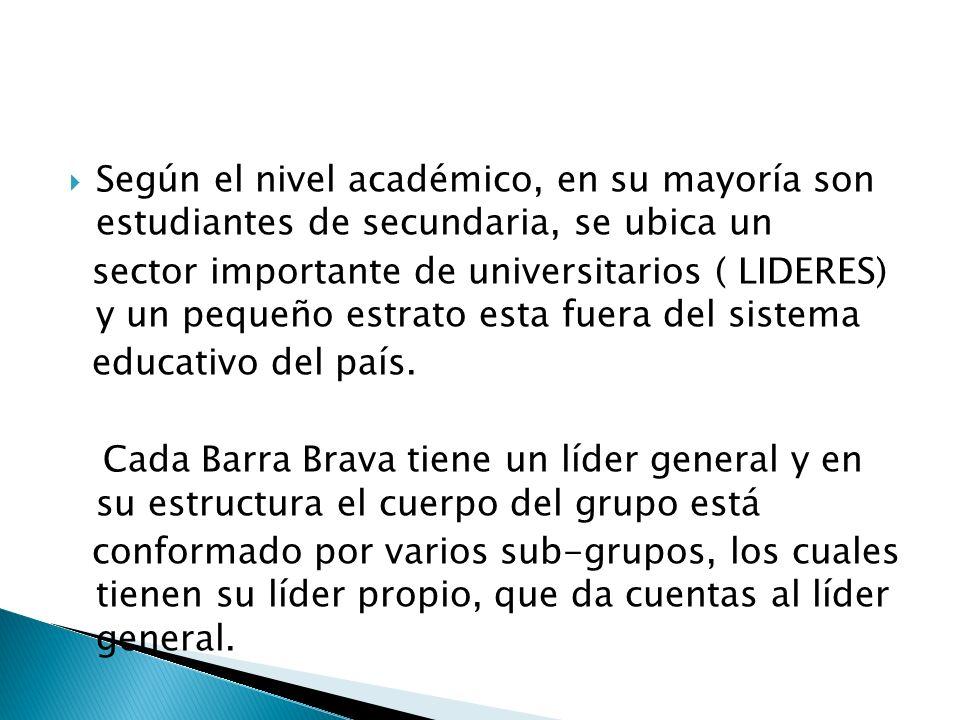 Según el nivel académico, en su mayoría son estudiantes de secundaria, se ubica un sector importante de universitarios ( LIDERES) y un pequeño estrato