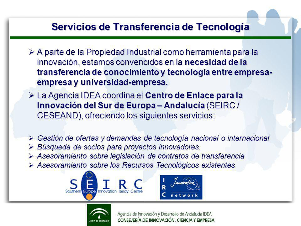 Servicios de Transferencia de Tecnología A parte de la Propiedad Industrial como herramienta para la innovación, estamos convencidos en la necesidad de la transferencia de conocimiento y tecnología entre empresa- empresa y universidad-empresa.