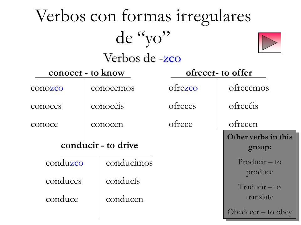 Verbos con formas irregulares de yo Verbos de -zco conocer - to knowofrecer- to offer conducir - to drive conozcoconocemos conocesconocéis conoceconoc