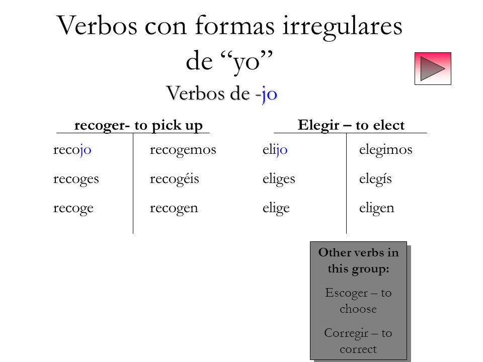 Verbos con formas irregulares de yo Verbos de -jo recoger- to pick upElegir – to elect recojorecogemos recogesrecogéis recogerecogen elijoelegimos eli