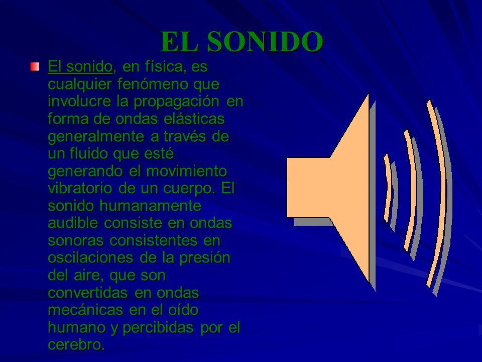 EL SONIDO El sonido, en física, es cualquier fenómeno que involucre la propagación en forma de ondas elásticas generalmente a través de un fluido que