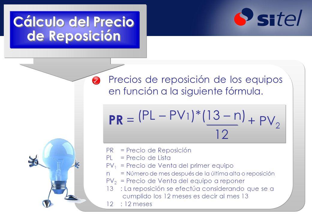 Precios de reposición de los equipos en función a la siguiente fórmula. PR = (PL – PV 1 )*(13 – n) 12 + PV 2 PR= Precio de Reposición PL= Precio de Li
