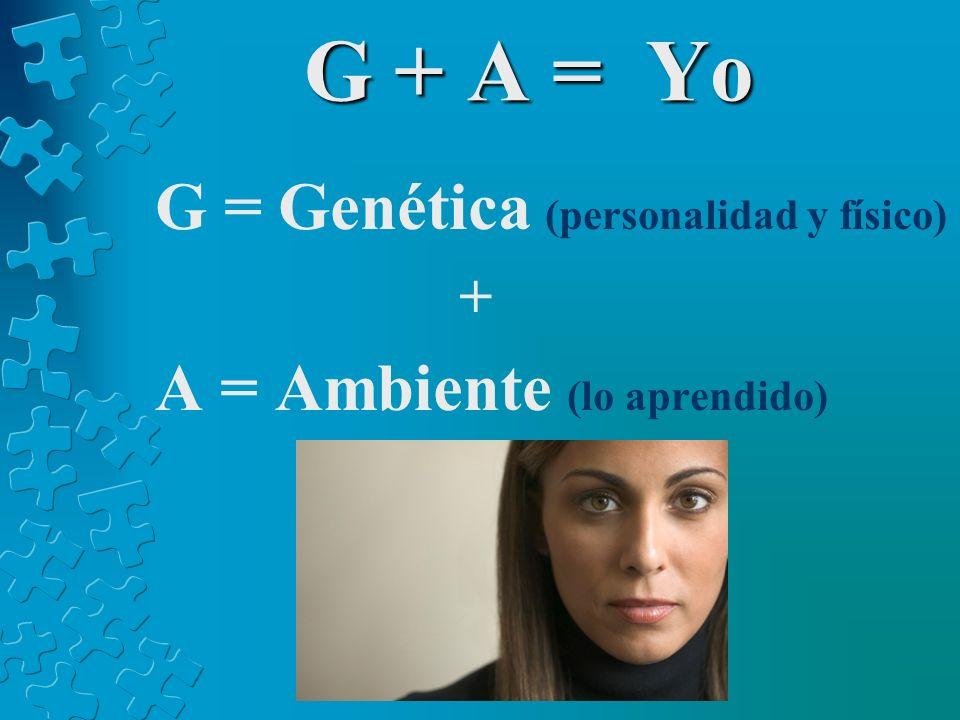 G + A = Yo G = Genética (personalidad y físico) + A = Ambiente (lo aprendido)