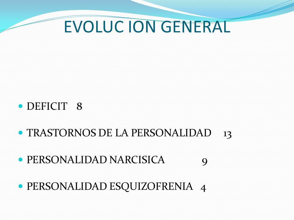 EVOLUC ION GENERAL DEFICIT8 TRASTORNOS DE LA PERSONALIDAD13 PERSONALIDAD NARCISICA 9 PERSONALIDAD ESQUIZOFRENIA 4