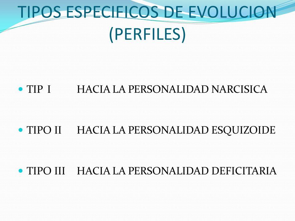 TIPOS ESPECIFICOS DE EVOLUCION (PERFILES) TIPIHACIA LA PERSONALIDAD NARCISICA TIPO IIHACIA LA PERSONALIDAD ESQUIZOIDE TIPO IIIHACIA LA PERSONALIDAD DE