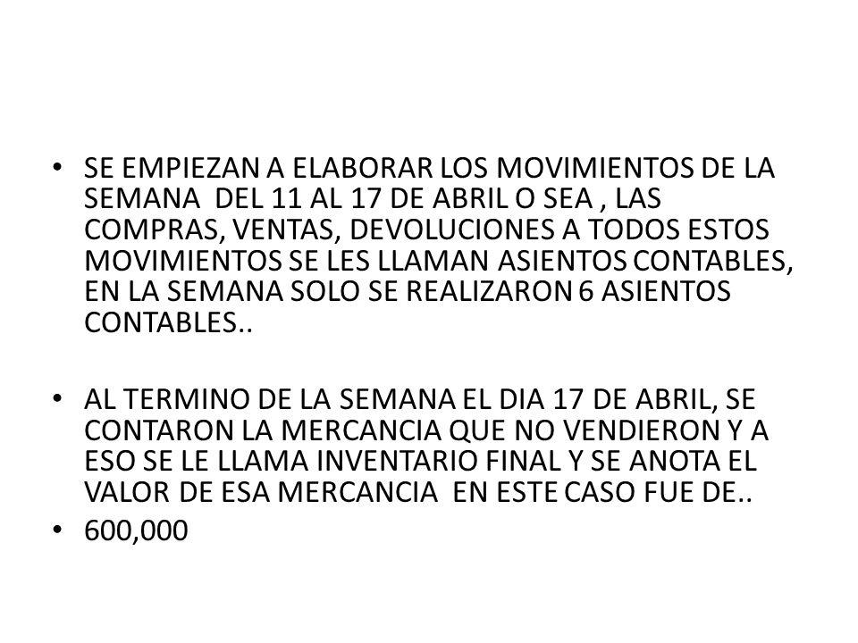 SE EMPIEZAN A ELABORAR LOS MOVIMIENTOS DE LA SEMANA DEL 11 AL 17 DE ...
