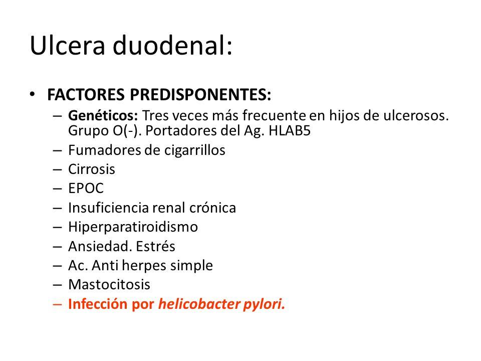 Ulcera duodenal: FACTORES PREDISPONENTES: – Genéticos: Tres veces más frecuente en hijos de ulcerosos. Grupo O(-). Portadores del Ag. HLAB5 – Fumadore