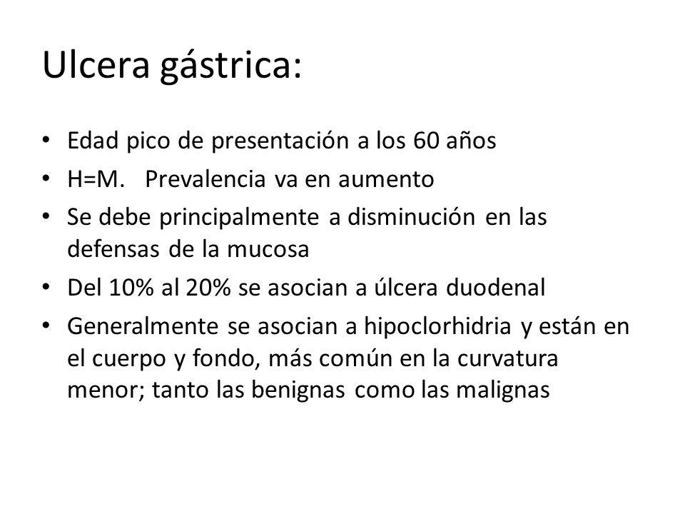Ulcera gástrica: Edad pico de presentación a los 60 años H=M. Prevalencia va en aumento Se debe principalmente a disminución en las defensas de la muc