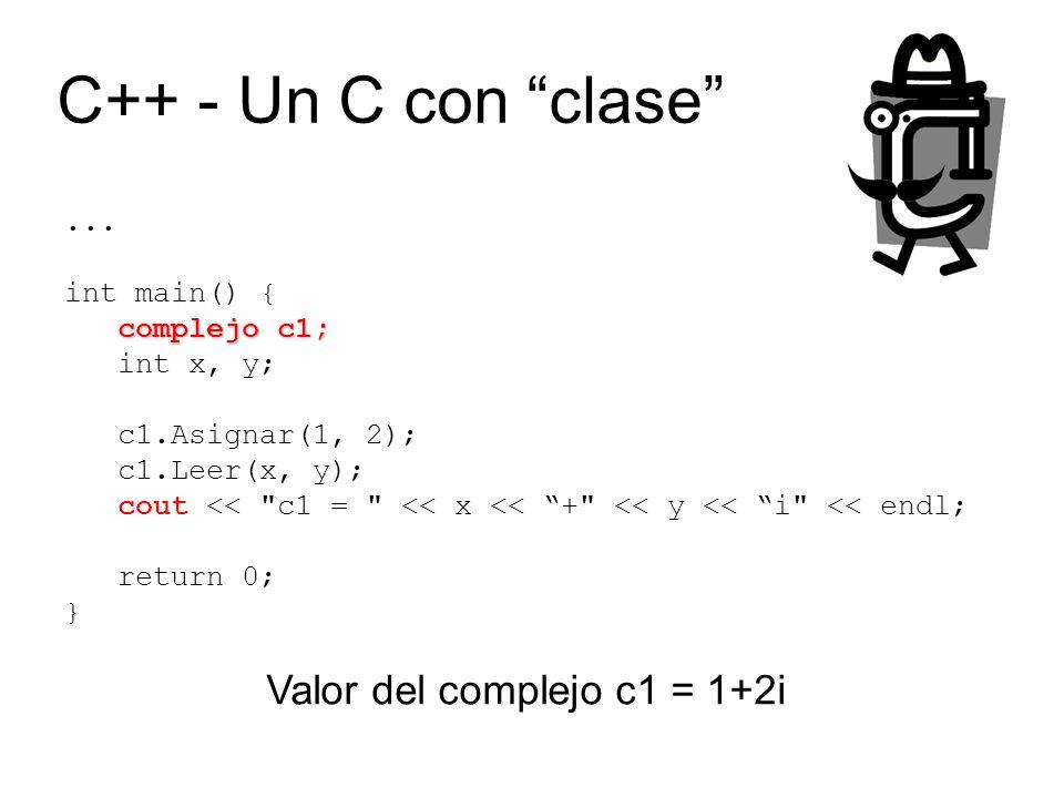 ... int main() { complejo c1; int x, y; c1.Asignar(1, 2); c1.Leer(x, y); cout <<