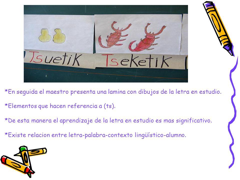 *En seguida el maestro presenta una lamina con dibujos de la letra en estudio. *Elementos que hacen referencia a (ts). *De esta manera el aprendizaje