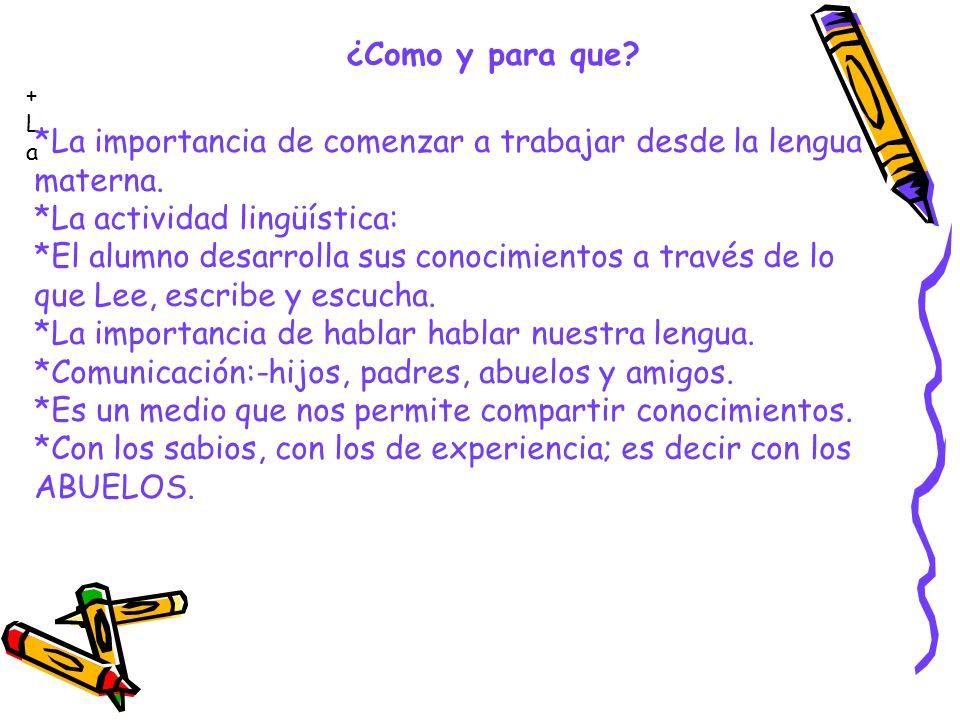 ¿Como y para que? +La+La *La importancia de comenzar a trabajar desde la lengua materna. *La actividad lingüística: *El alumno desarrolla sus conocimi