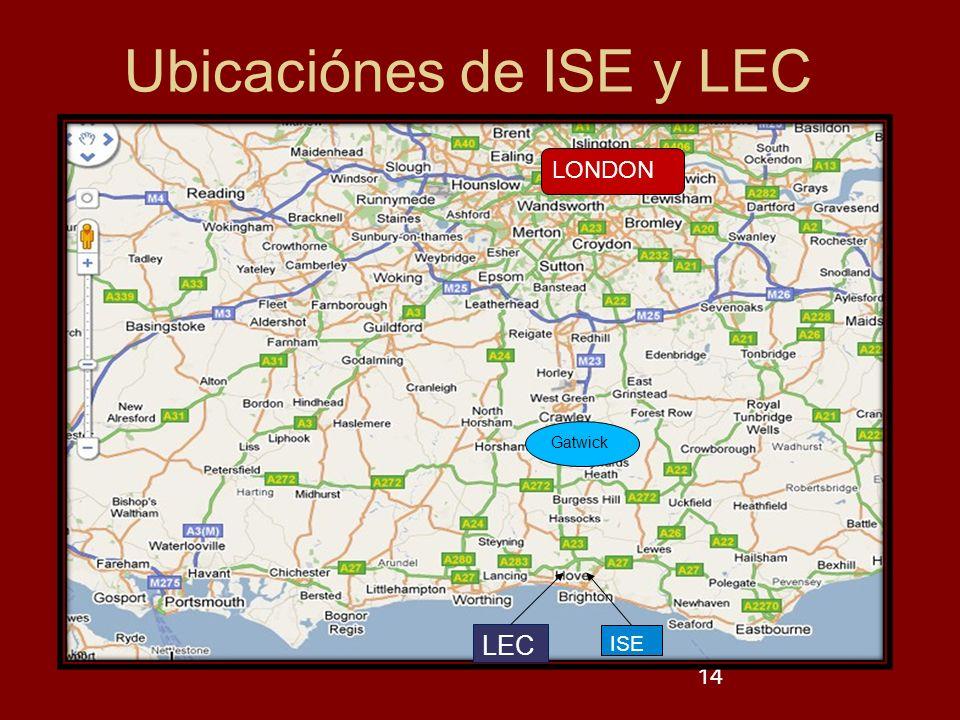 14 Gatwick LEC ISE LONDON Ubicaciónes de ISE y LEC