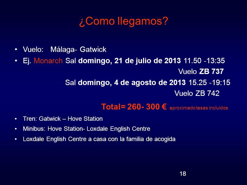 18 ¿Como llegamos? Vuelo: Málaga- Gatwick Ej. Monarch Sal domingo, 21 de julio de 2013 11.50 -13:35 Vuelo ZB 737 Sal domingo, 4 de agosto de 2013 15.2