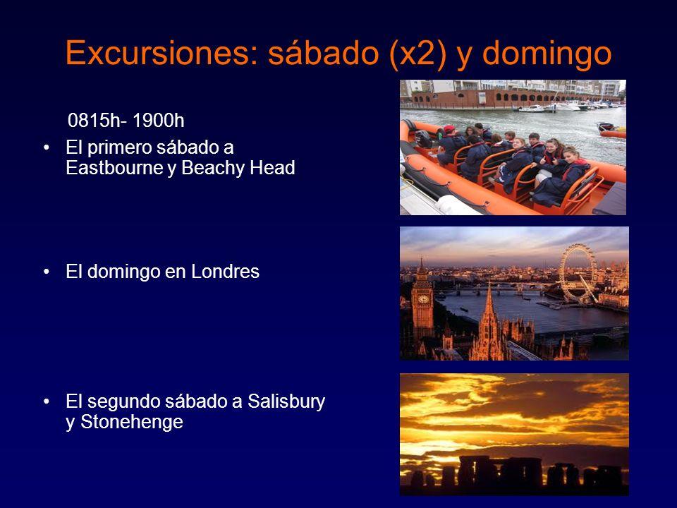 22 Excursiones: sábado (x2) y domingo 0815h- 1900h El primero sábado a Eastbourne y Beachy Head El domingo en Londres El segundo sábado a Salisbury y