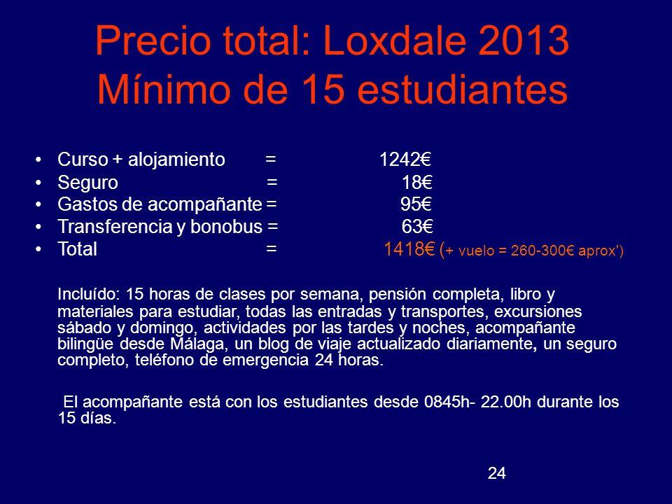 24 Precio total: Loxdale 2013 Mínimo de 15 estudiantes Curso + alojamiento = 1242 Seguro = 18 Gastos de acompañante = 95 Transferencia y bonobus = 63