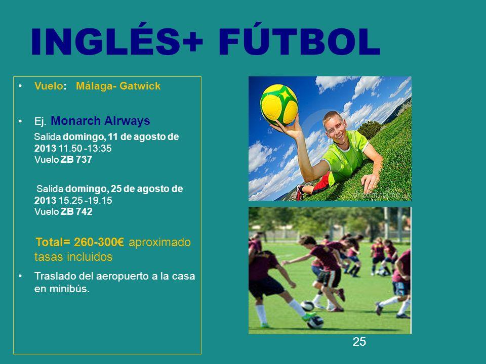 25 INGLÉS+ FÚTBOL Vuelo: Málaga- Gatwick Ej. Monarch Airways Salida domingo, 11 de agosto de 2013 11.50 -13:35 Vuelo ZB 737 Salida domingo, 25 de agos