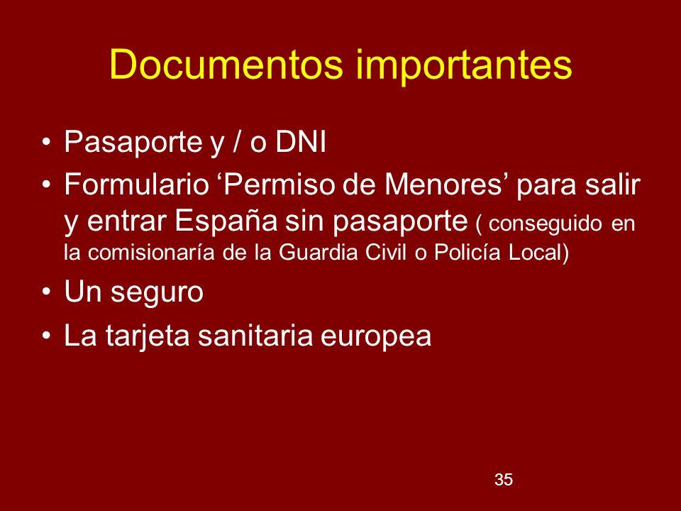 35 Documentos importantes Pasaporte y / o DNI Formulario Permiso de Menores para salir y entrar España sin pasaporte ( conseguido en la comisionaría d