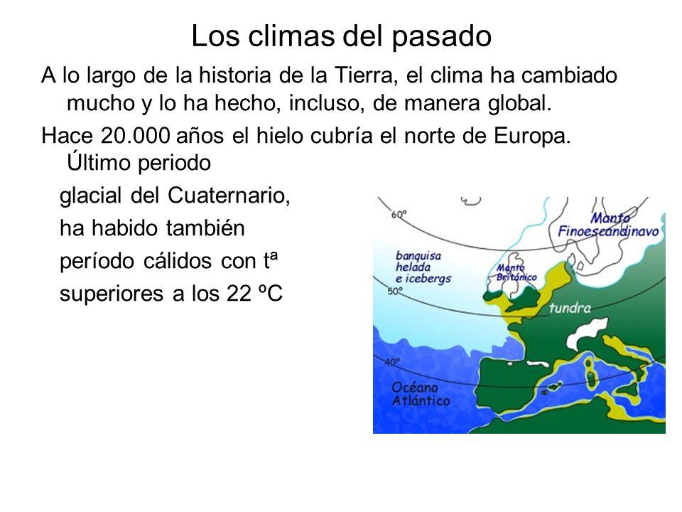 Los climas del pasado A lo largo de la historia de la Tierra, el clima ha cambiado mucho y lo ha hecho, incluso, de manera global. Hace 20.000 años el