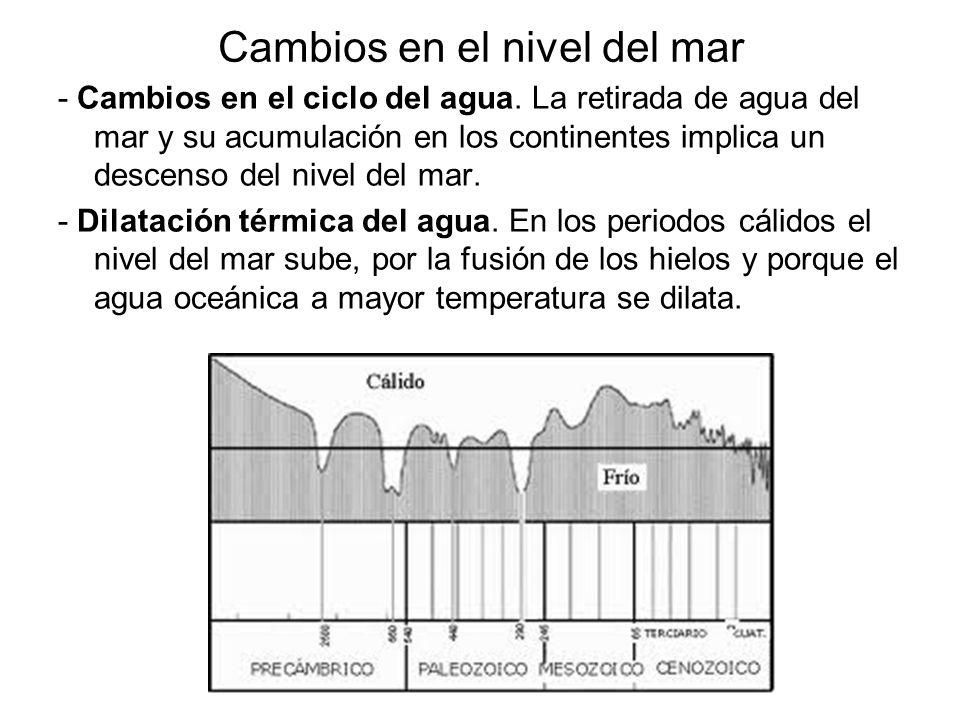 Cambios en el nivel del mar - Cambios en el ciclo del agua. La retirada de agua del mar y su acumulación en los continentes implica un descenso del ni