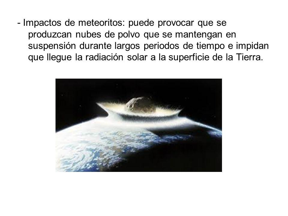 - Impactos de meteoritos: puede provocar que se produzcan nubes de polvo que se mantengan en suspensión durante largos periodos de tiempo e impidan qu