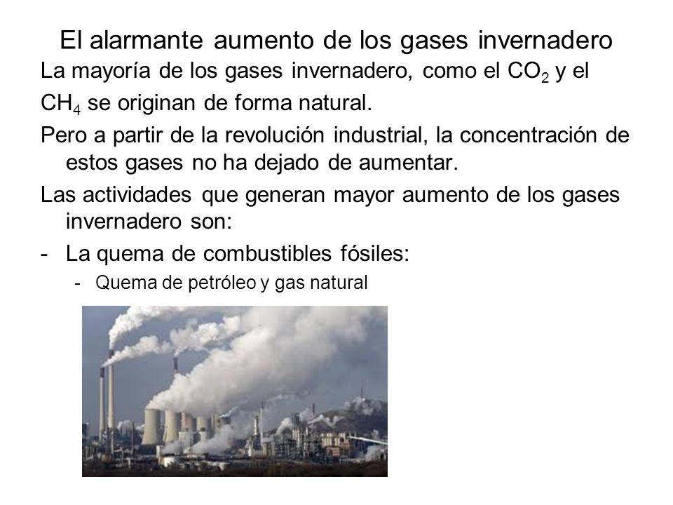 El alarmante aumento de los gases invernadero La mayoría de los gases invernadero, como el CO 2 y el CH 4 se originan de forma natural. Pero a partir