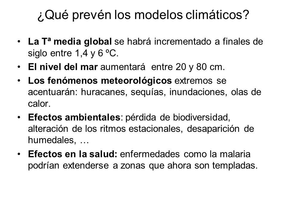 ¿Qué prevén los modelos climáticos? La Tª media global se habrá incrementado a finales de siglo entre 1,4 y 6 ºC. El nivel del mar aumentará entre 20