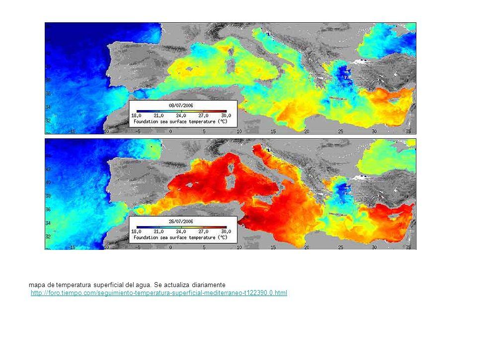 mapa de temperatura superficial del agua. Se actualiza diariamente http://foro.tiempo.com/seguimiento-temperatura-superficial-mediterraneo-t122390.0.h