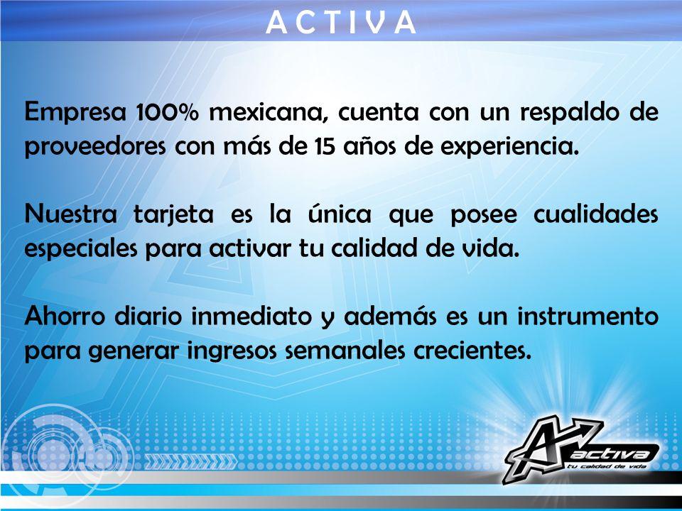 Empresa 100% mexicana, cuenta con un respaldo de proveedores con más de 15 años de experiencia. Nuestra tarjeta es la única que posee cualidades espec
