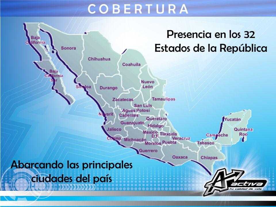 Presencia en los 32 Estados de la República C O B E R T U R A Abarcando las principales ciudades del país