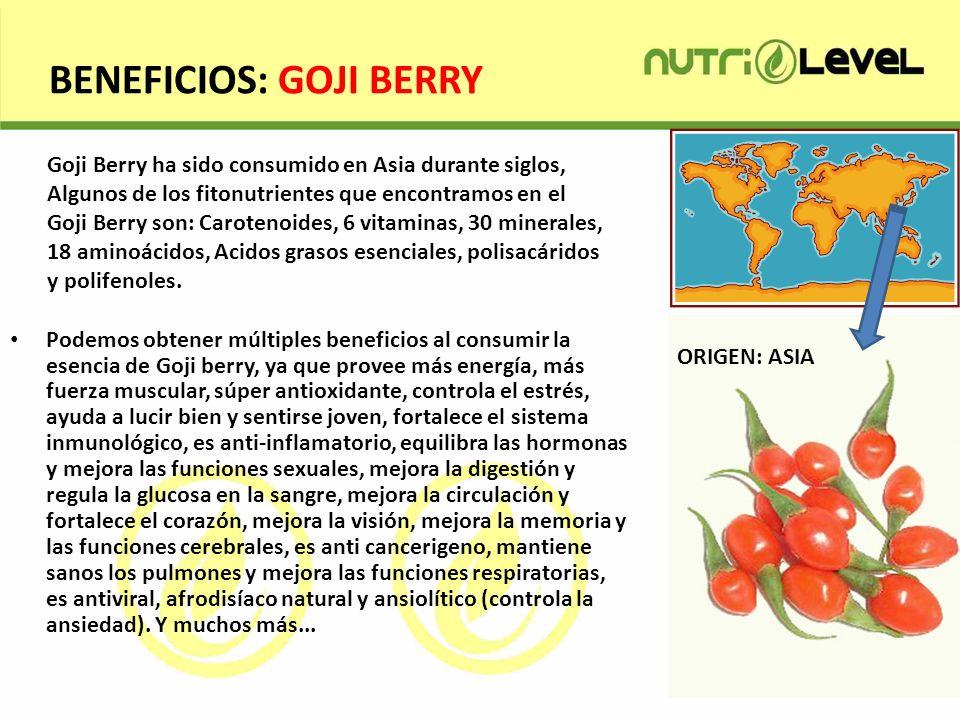 BENEFICIOS: GOJI BERRY Podemos obtener múltiples beneficios al consumir la esencia de Goji berry, ya que provee más energía, más fuerza muscular, súpe