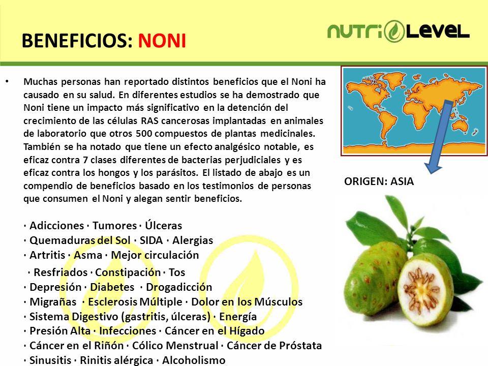 BENEFICIOS: NONI Muchas personas han reportado distintos beneficios que el Noni ha causado en su salud. En diferentes estudios se ha demostrado que No