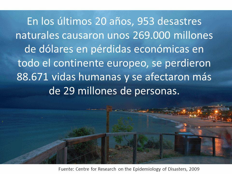 En los últimos 20 años, 953 desastres naturales causaron unos 269.000 millones de dólares en pérdidas económicas en todo el continente europeo, se perdieron 88.671 vidas humanas y se afectaron más de 29 millones de personas.