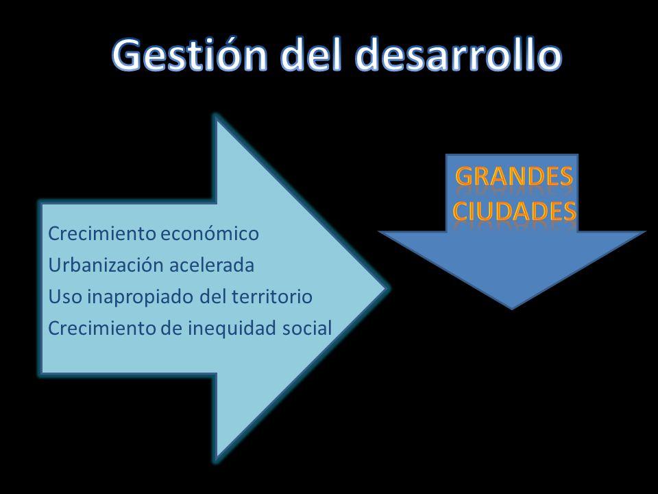 Crecimiento económico Urbanización acelerada Uso inapropiado del territorio Crecimiento de inequidad social