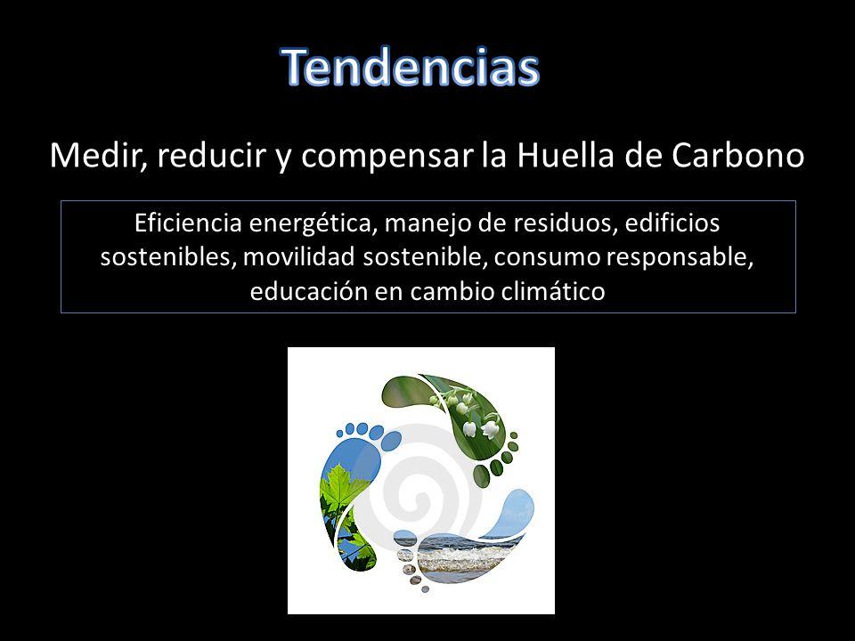 Medir, reducir y compensar la Huella de Carbono Eficiencia energética, manejo de residuos, edificios sostenibles, movilidad sostenible, consumo responsable, educación en cambio climático