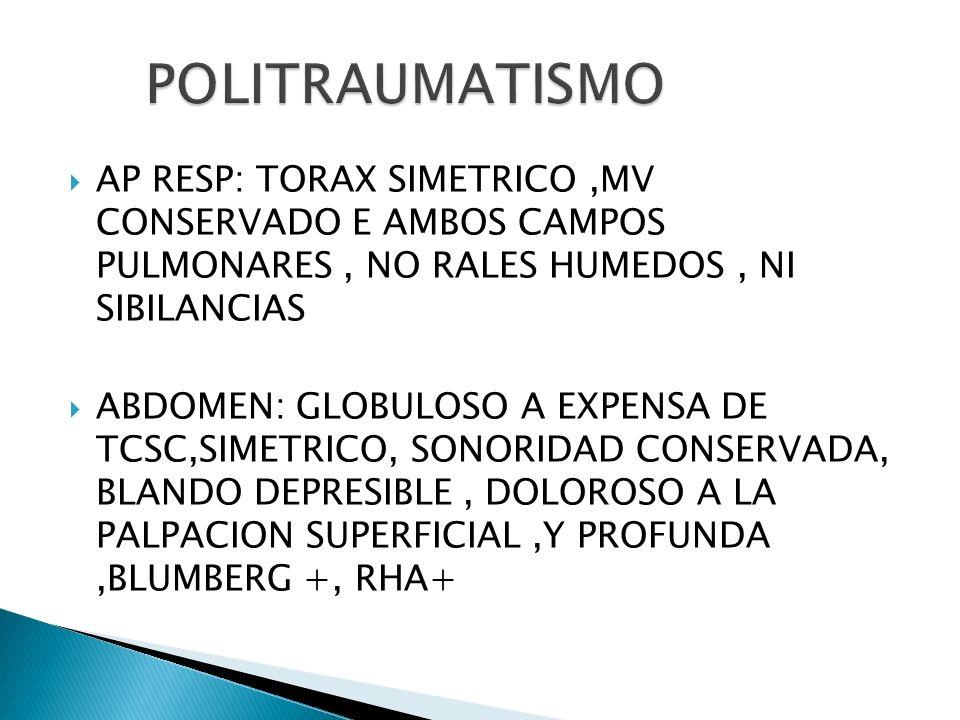 AP RESP: TORAX SIMETRICO,MV CONSERVADO E AMBOS CAMPOS PULMONARES, NO RALES HUMEDOS, NI SIBILANCIAS ABDOMEN: GLOBULOSO A EXPENSA DE TCSC,SIMETRICO, SON