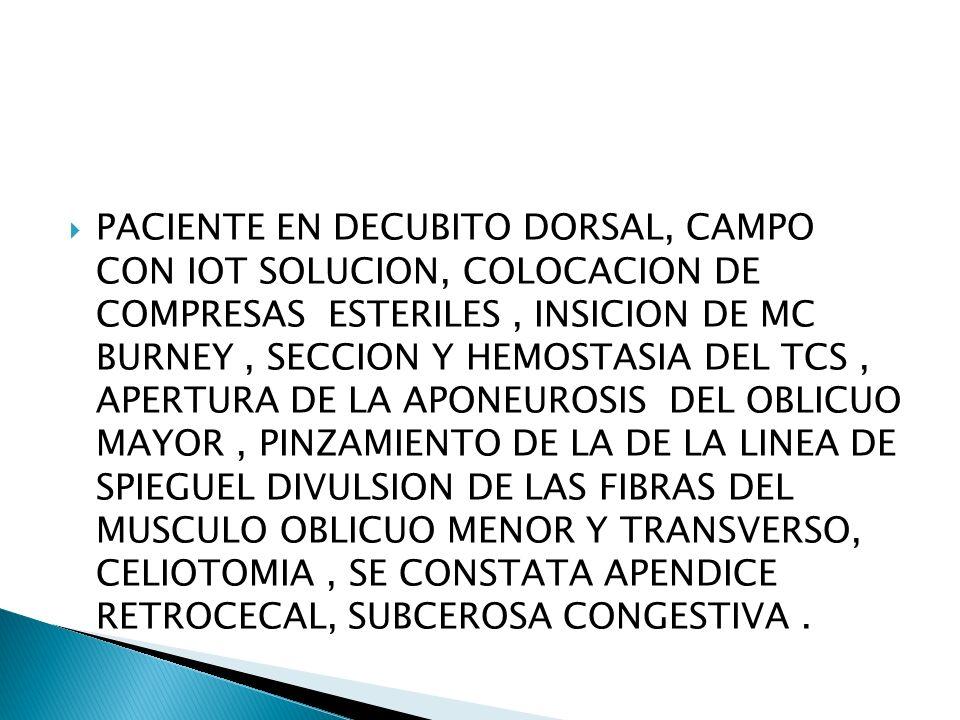 PACIENTE EN DECUBITO DORSAL, CAMPO CON IOT SOLUCION, COLOCACION DE COMPRESAS ESTERILES, INSICION DE MC BURNEY, SECCION Y HEMOSTASIA DEL TCS, APERTURA