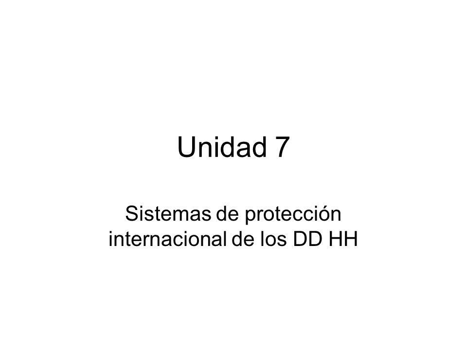 Unidad 7 Sistemas de protección internacional de los DD HH