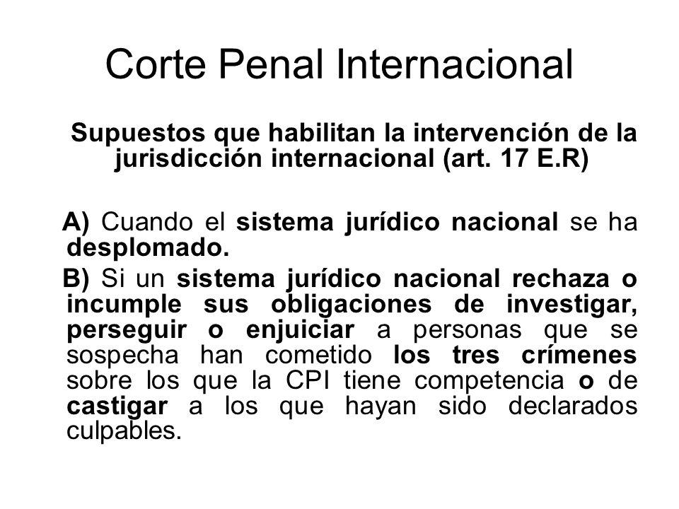 Corte Penal Internacional Supuestos que habilitan la intervención de la jurisdicción internacional (art.