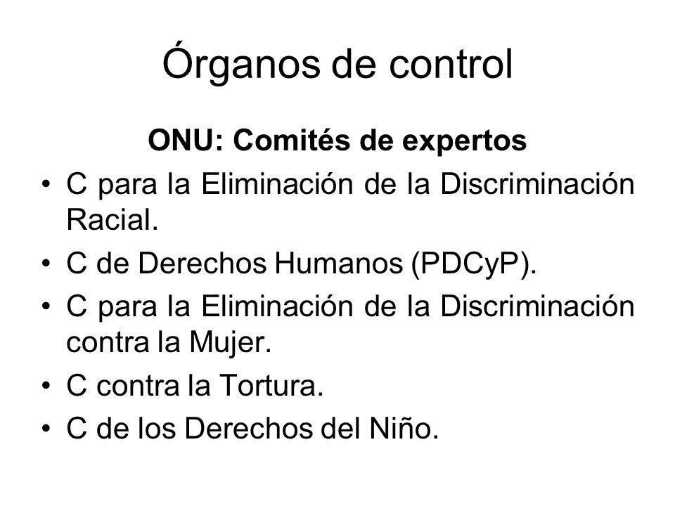 Órganos de control ONU: Comités de expertos C para la Eliminación de la Discriminación Racial.