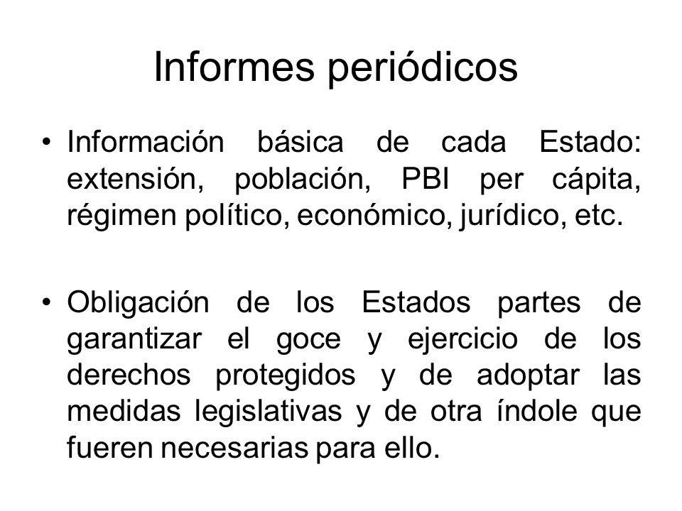 Informes periódicos Información básica de cada Estado: extensión, población, PBI per cápita, régimen político, económico, jurídico, etc.