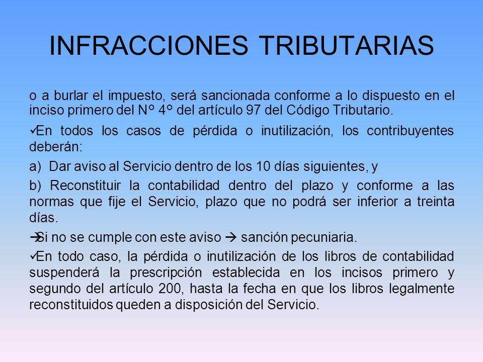 INFRACCIONES TRIBUTARIAS o a burlar el impuesto, será sancionada conforme a lo dispuesto en el inciso primero del N° 4° del artículo 97 del Código Tri